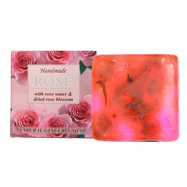 """Natural Glycerin Soap """"ROSE"""" with rose water and dried rose blossom, 60g"""