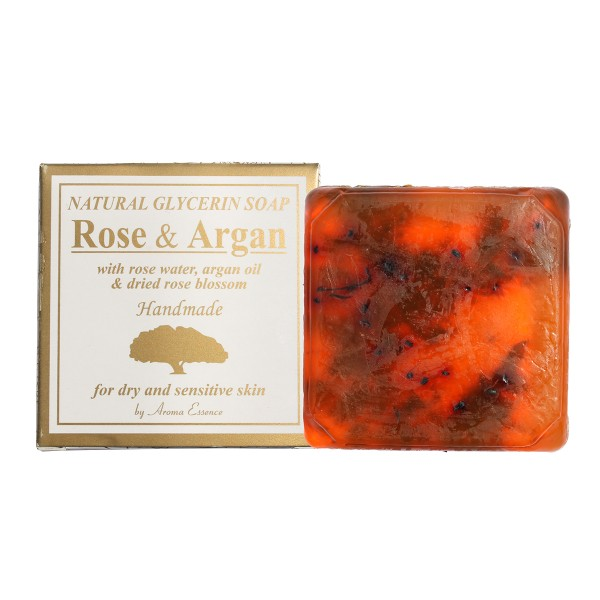 """Natural Glycerin Soap """"ROSE AND ARGAN"""", with rose water, argan oil and dried rose blossom, 60g"""