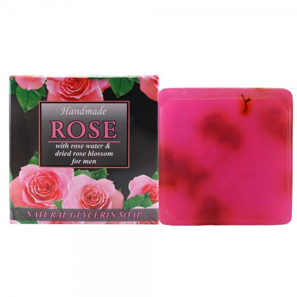 """Natural glycerin soap """"ROSE"""" for men, with rose water and dried rose blossom, 60g"""